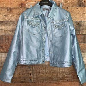 NWT bagatelle blue faux leather jacket, medium